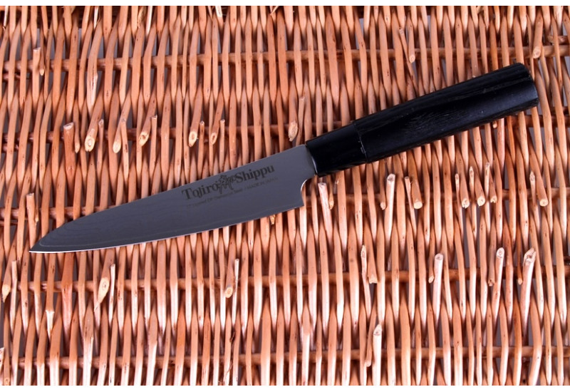FD-592 Нож универсальный Tojiro Shippu, 130 мм, сталь VG-10, 63 слоя, рукоять дерево, #9000
