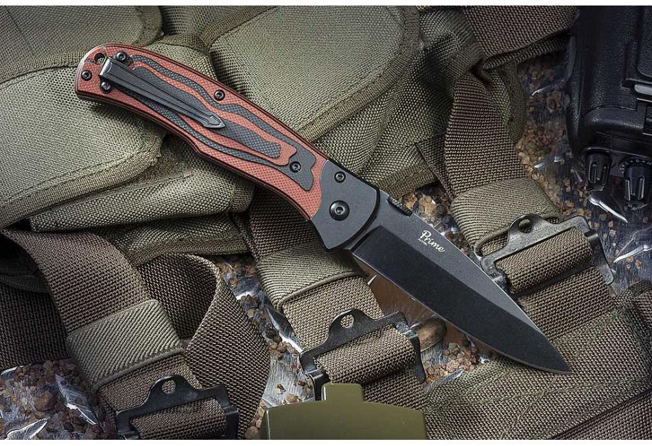 Складной нож Prime D2 Black Titanium G10