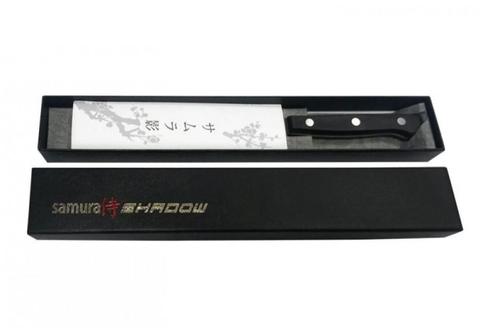 "SH-0095/16 НОЖ КУХОННЫЙ ""SAMURA SHADOW"" САНТОКУ С ПОКРЫТИЕМ BLACK-COATING 175 ММ, AUS-8, ПЛАСТИК"