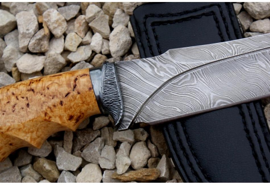 Нож Тур дамаск карельская береза