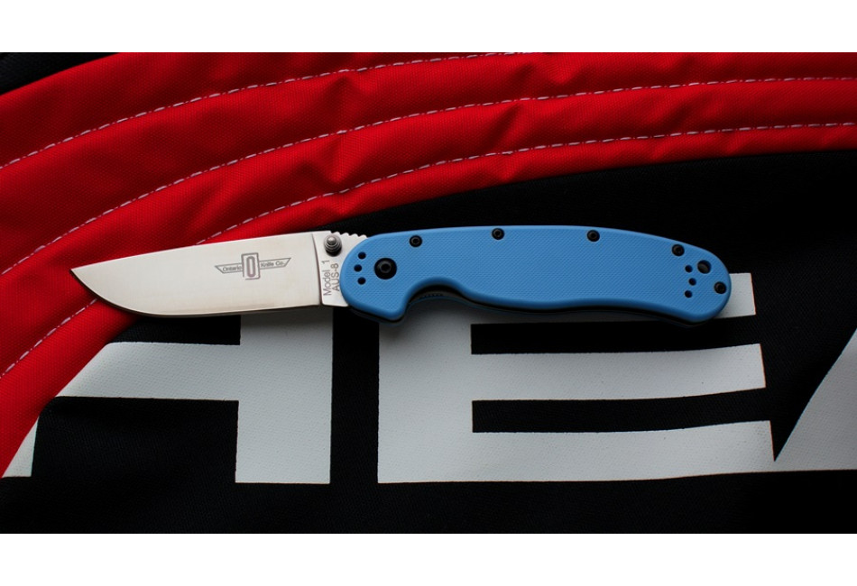 Складной нож Ontario Rat 1 Aus-8 Tool Steel, Satin Blade, Blue Handle ON8848BL
