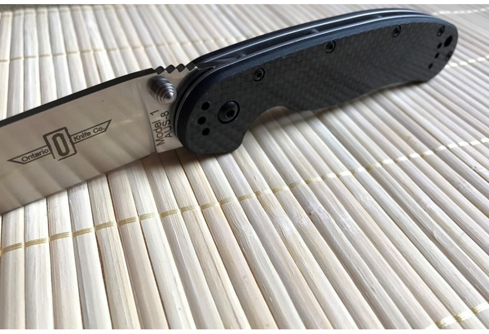 Складной нож Ontario Rat 1 Aus-8 Steel, Satin Blade, carbon ON8886CF